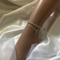 Silver Double Ankle Chain Bracelet with Disc - Bohemian Disc Anklet with Accent