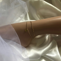 Gold Double Ankle Chain Bracelet with Disc - Boho Gold Disc Anklet with Accent