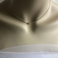 Single Diamante Choker Necklace - Silver Choker Chain - Minimalist Necklace