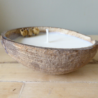 Orange & Cinnamon Coconut Shell Soy Candle