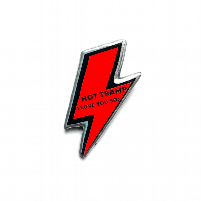 Bowie 'Hot Tramp I Love you so' Red Lightening Bolt Resin Brooch by EllyMental