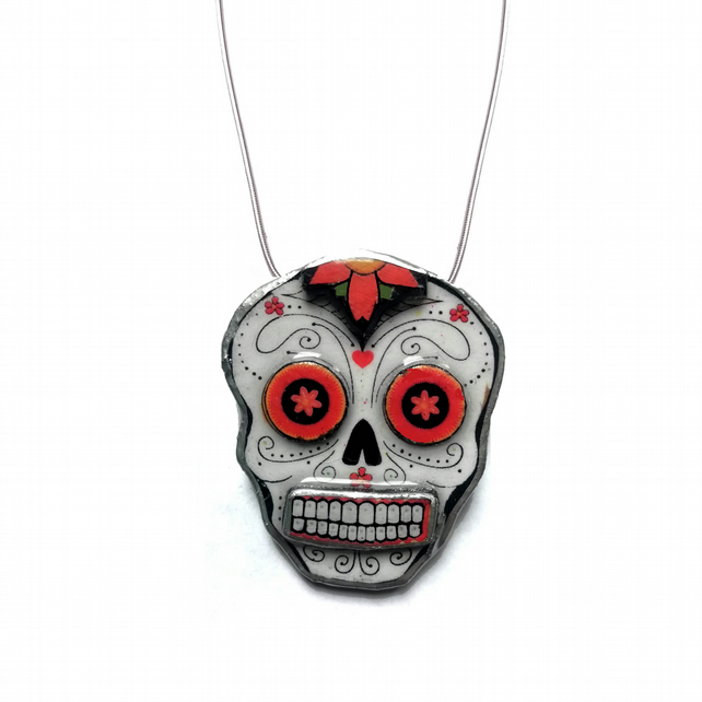 Statement Mexicana Day of the Dead Sugar Skull Necklace by EllyMental