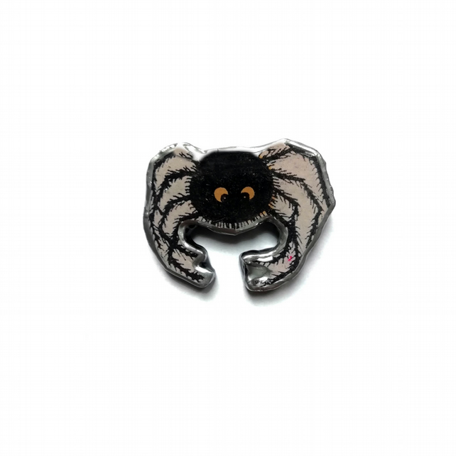 Spooky Spider Arachnid Halloween Resin Brooch by EllyMental