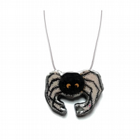 Spooky Spider Arachnid Halloween Resin Necklace by EllyMental