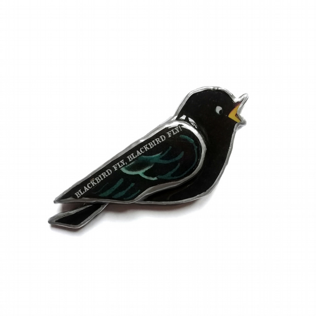 Wonderfully Whimsical Lyrical Beatles Blackbird Resin Brooch by EllyMental