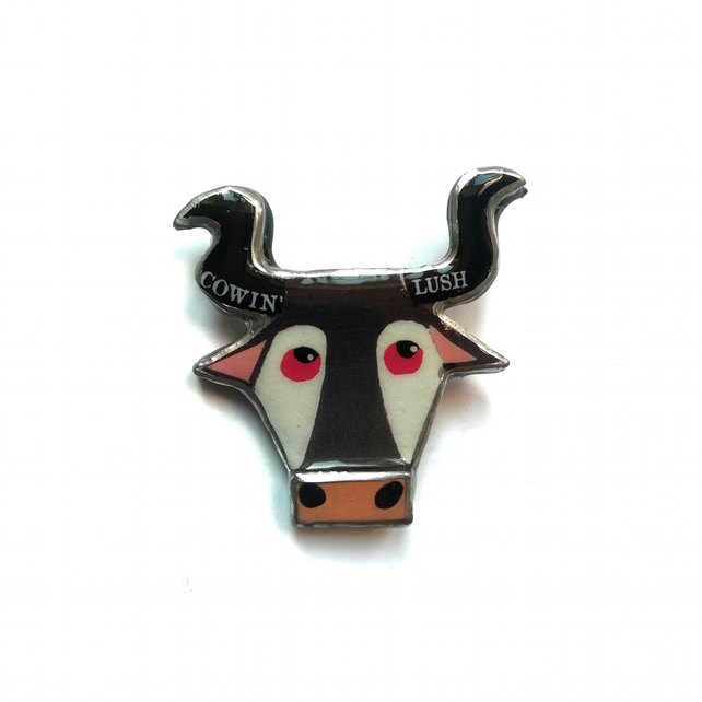 Marvellous Bovine 'Cowin Lush' Bull cow Brooch by EllyMental
