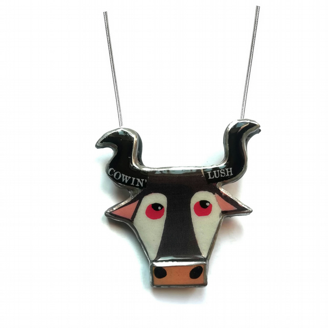 Marvellous Bovine 'Cowin Lush' Bull cow Statement Necklace by EllyMental