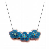 Garland of Forget Me Knot Flowers Blue Flower Power Necklace by EllyMental