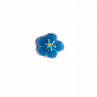 Single Forget Me Knot Blue Flower Power Brooch by EllyMental