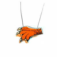 Whimsical Resin Big Cat Claw 'Fight the good fight' Necklace by EllyMental