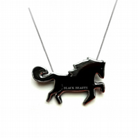 Black Beauty Horse literary Necklace by EllyMental Jewellery