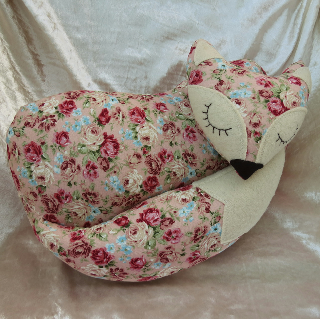 Fox Cushion. Floral fox.  Fox Pillow.  38cm in length.