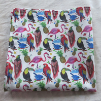 Liberty Lawn handkerchief. Tropical design. Cotton handkerchief.
