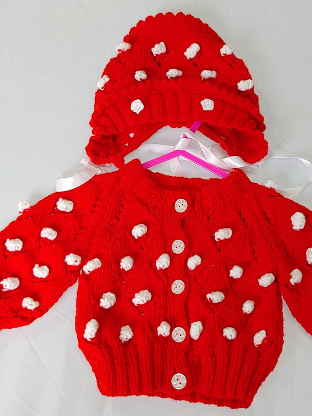 Baby bobble jacket and  bonnet set,