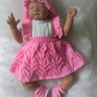 "Sweet Hand Knitted All in One Dress Set Reborn 19"" to 21"" or Newborn Baby"
