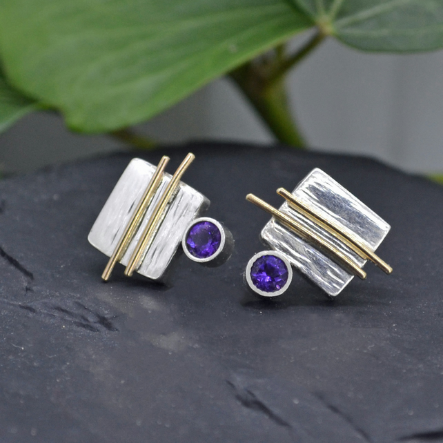 Argentium Silver & 9ct Gold Earrings with Amethyst