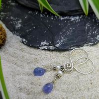"Silver and Tanzanite ""sweetheart"" earrings"