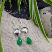 "Silver And Chrysoprase ""Harlequin"" Earrings"