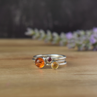 SUNSET Silver Stacking Ring Set - Amber Citrine Ruby Gemstone Rings