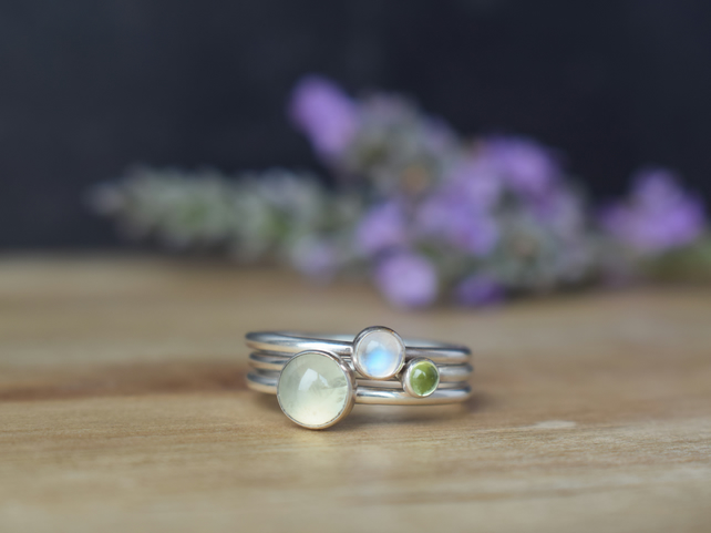 MEADOW Gemstone Layering Rings - Prehnite Moonstone Peridot Green Stacking Rings