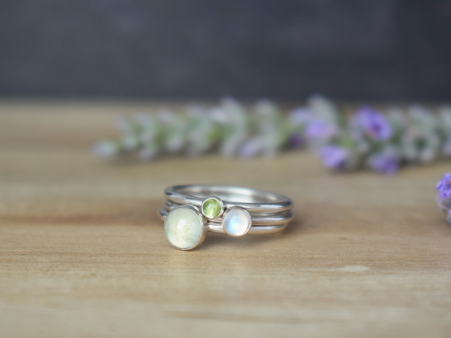 MEADOW Silver Stacking Rings - Prehnite Moonstone Peridot Green Gemstone Ring