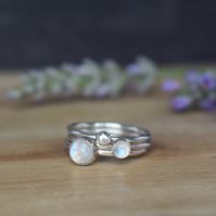 CELESTIAL Silver Stacking Rings - Rainbow Moonstone Gemstone Jewellery