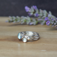 SURF Silver Stacking Rings - Topaz Aquamarine Birthstone Gemstone Jewellery