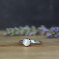 Rainbow Moonstone Gemstone Ring - Sterling Silver Stacking Ring
