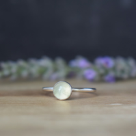 Prehnite Green Gemstone Ring - Sterling Silver Stacking Ring