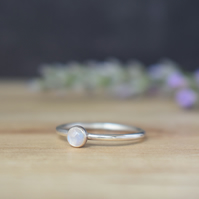 Rainbow Moonstone 4mm Gemstone Ring - Sterling Silver Stacking Ring