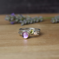 MOORLAND Gemstone and Silver Layering Rings