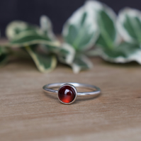 Garnet Ring - Sterling Silver Gemstone Ring - Layering Ring