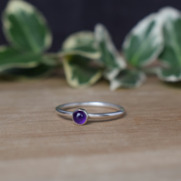 Amethyst Ring - Sterling Silver Gemstone Ring - Layering Ring - Birthstone