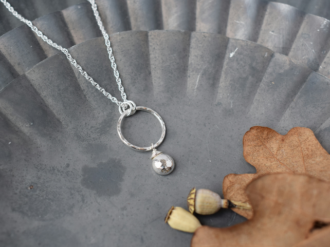 Circle Necklace with Charm - Contemporary Silver Jewellery