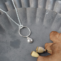 Silver Circle Necklace - Rustic Hammered Silver Jewellery