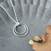 Silver Circles Double Hoop Necklace