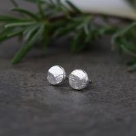 Rustic 6mm Silver Post Earrings - Contemporary Minimalist Jewellery