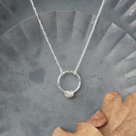 Hammered Silver Circle Ring Necklace
