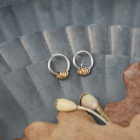 Silver Circle Studs with 14K Gold Filled Hoop Charms