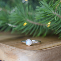 Rainbow Moonstone Ring - Christmas Gift for Her  - Letterbox Gift Jewellery