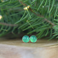 Green Agate Silver Stud Earrings - Christmas Gift for Her