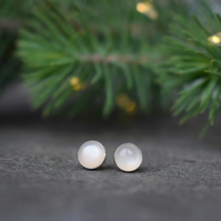 Moonstone Stud Earrings - Sterling Silver Studs - Christmas Gift Idea