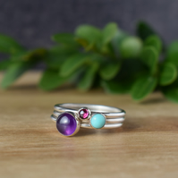 NEBULA Gemstone and Silver Layering Rings