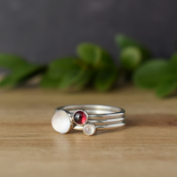 ROSA Gemstone and Silver Layering Rings - Moonstone, Garnet, Rose Quartz
