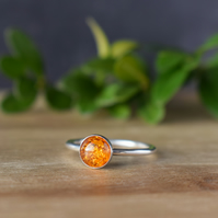 Amber Ring - Sterling Silver Stacking Ring - Gift for Her