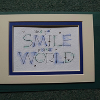 Share your Smile quote watercolour Palladium leaf gift.