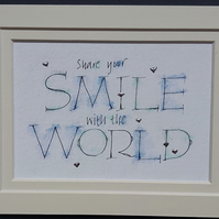 Share your Smile quote giclee print with Palladium leaf hearts.