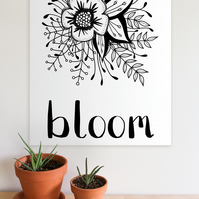BLOOM A4 floral monochrome digital printable art download