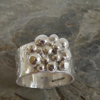 wide sterling silver and argentium silver ring size N