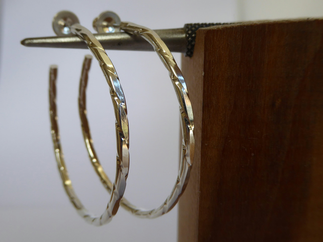 Argentium silver twisted wire hoops large and small post and scroll studs